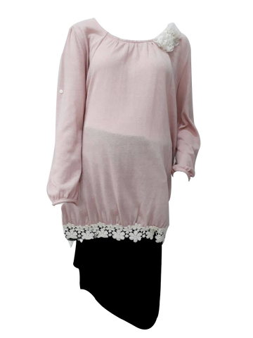 L/SLEE WOOL WITH LACE N ROSE PINK