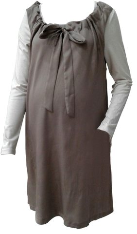 CREAM SHIRT BROWN PINNAFORE