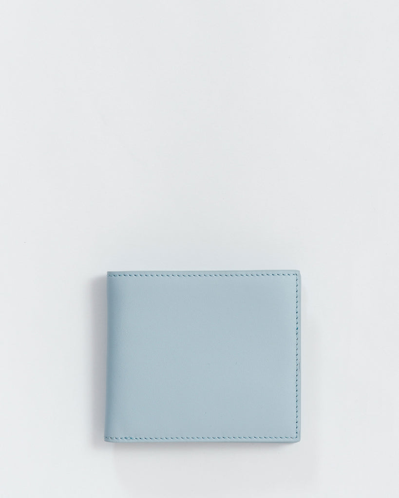 Bifold Wallet - Leather Wallet - Powder Blue - Light Blue - Bifold wallet with 6 card slots, 2 interior pockets, and 2 large cash pockets. - Tags: Leather wallet, fine grain, solid