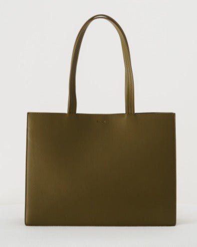 Large Leather Retail Tote - Kelp