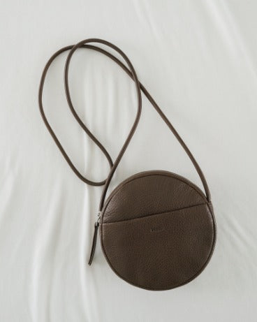 BAGGU Leather Bags Soft Mini Circle Purse - Chocolate