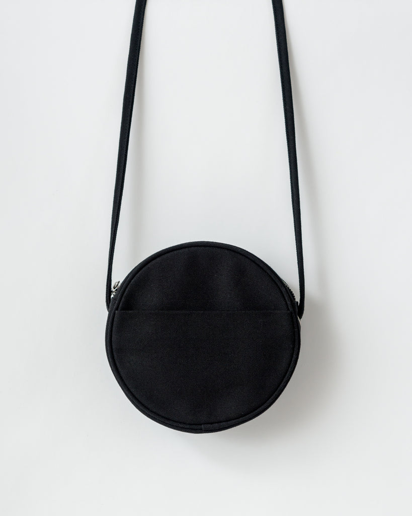 Small Canvas Circle Purse - Canvas Purse - Black - Black - A canvas cross body purse in a circle shape. - Tags: Black purse, canvas purse, cross body purse, black bag, canvas bag, solid