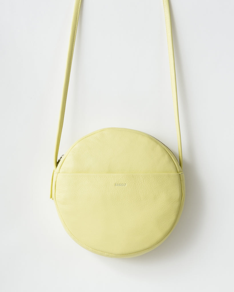 leather circle purse in yellow