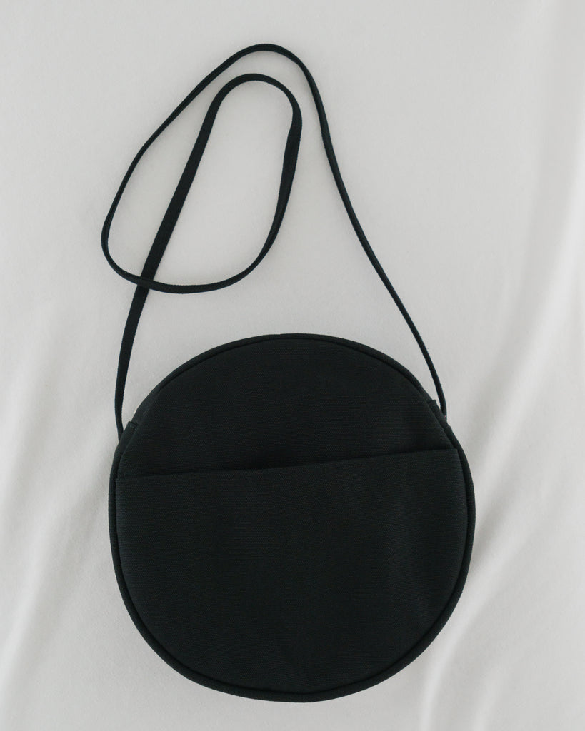 Medium Canvas Circle Purse - Black
