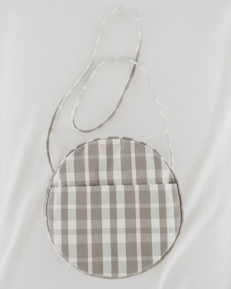 Medium Canvas Circle Purse - Dove Plaid