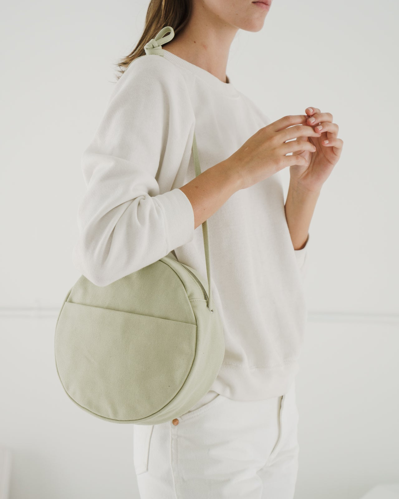 Medium Canvas Circle Purse - Matcha