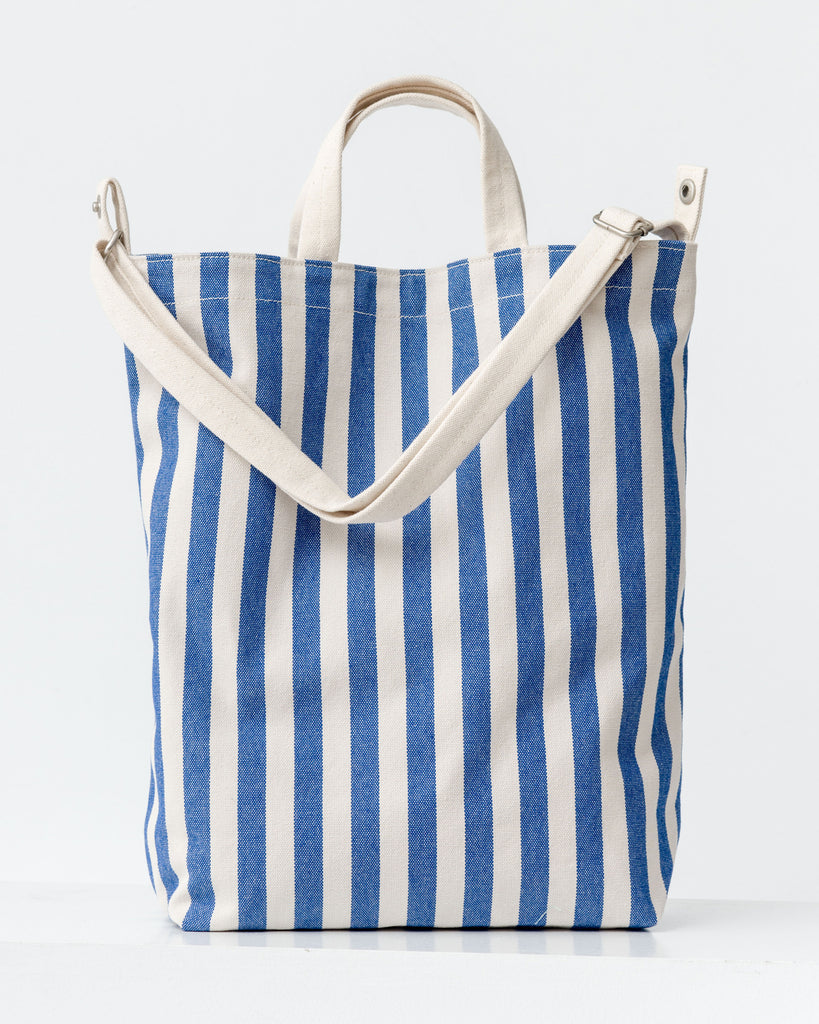 "Duck Bag - Canvas Tote - Summer Stripe - White with Blue Stripe - An everyday canvas tote bag. Holds a 15"" laptop. - Tags: Canvas tote, tote bag, canvas bag, print, pattern, stripes"