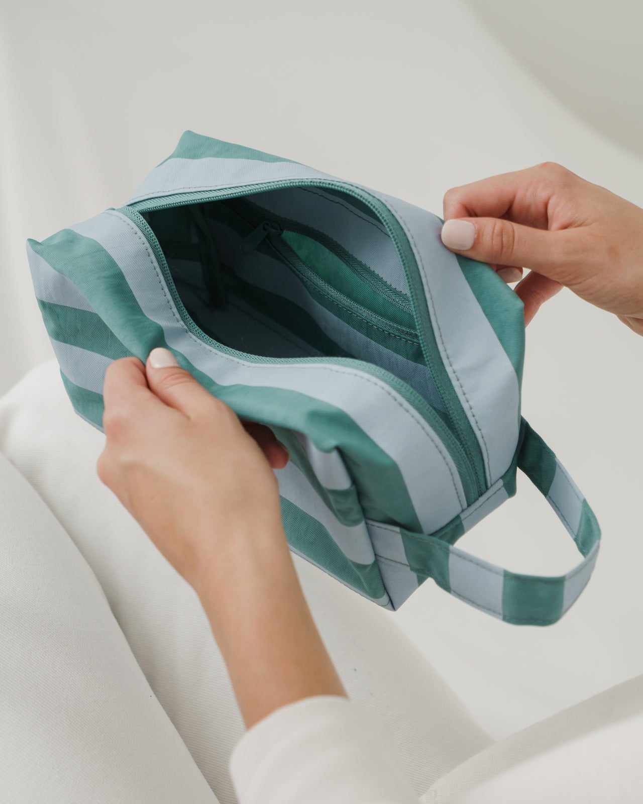 Dopp Kit - Teal Stripe