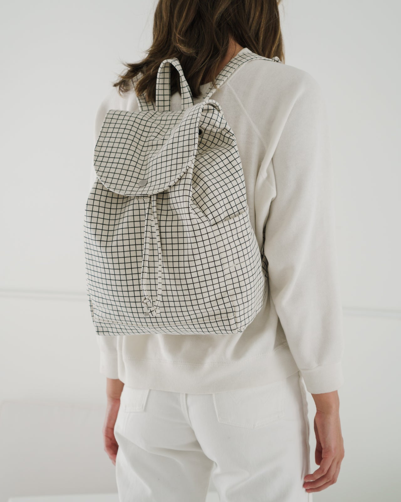 Drawstring Backpack - Natural Grid
