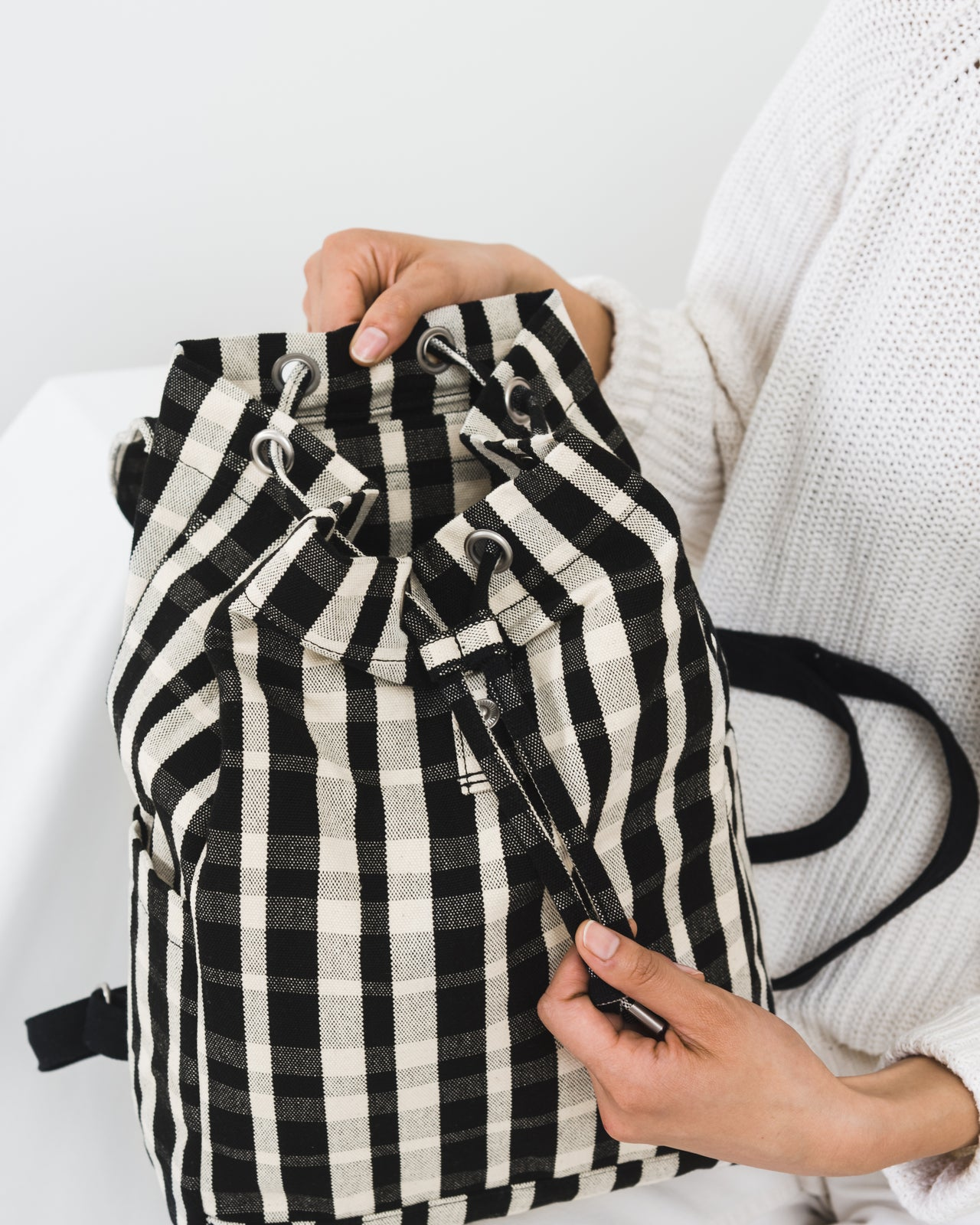Drawstring Backpack - Plaid
