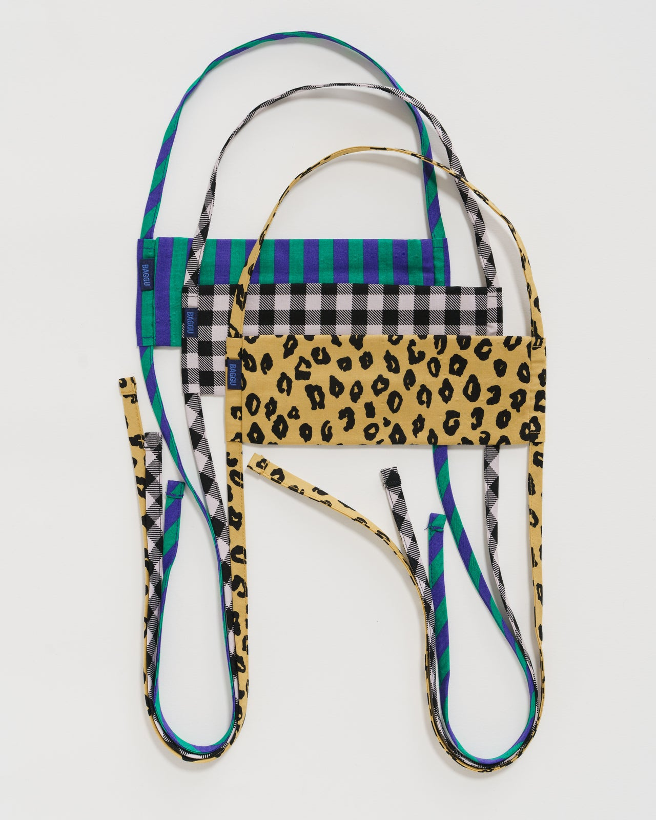 Fabric Mask Set Tie - Gingham, Leopard and Stripes