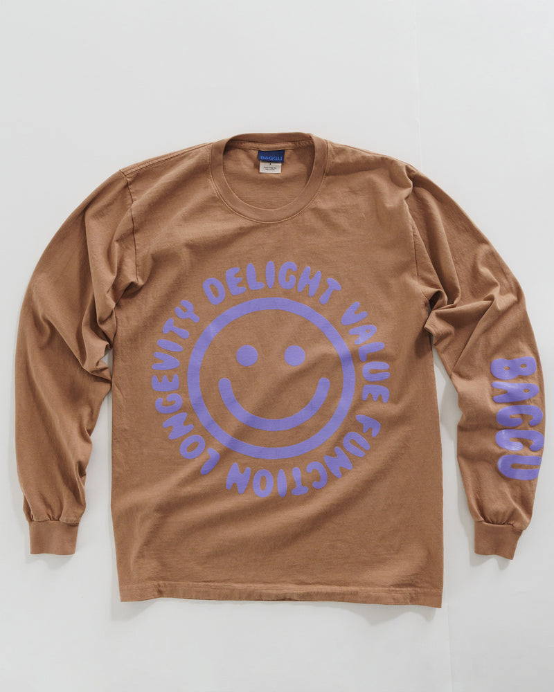BAGGU New Arrivals Long Sleeve Tee - Happy