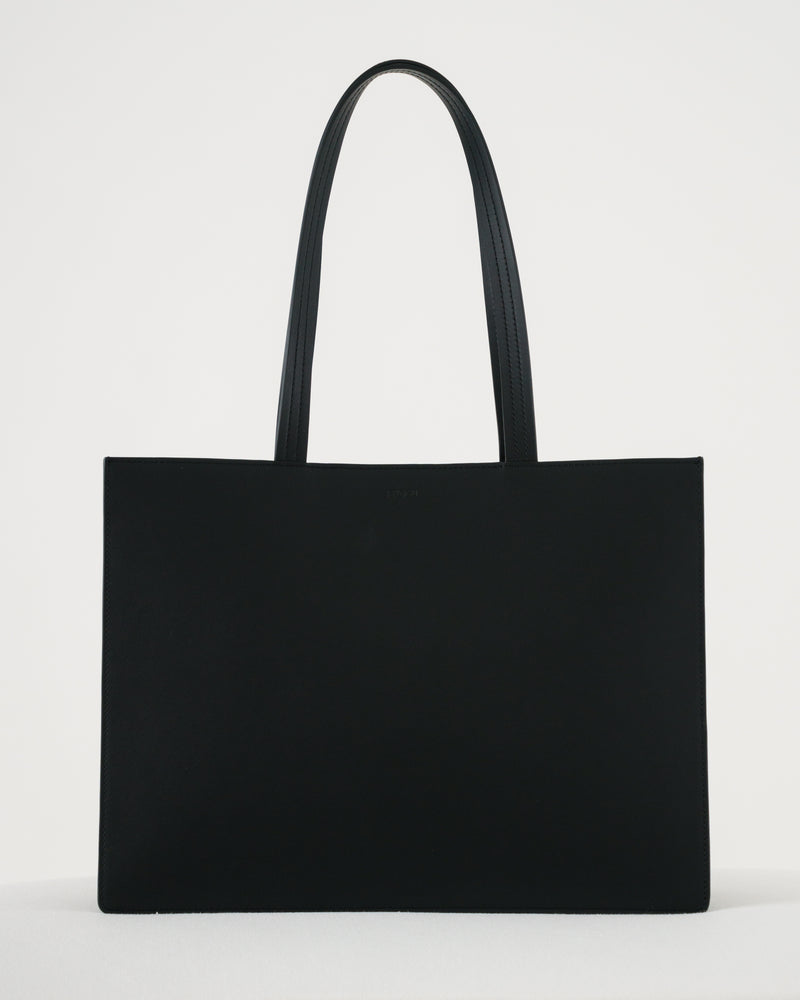 Large Leather Retail Tote - Black
