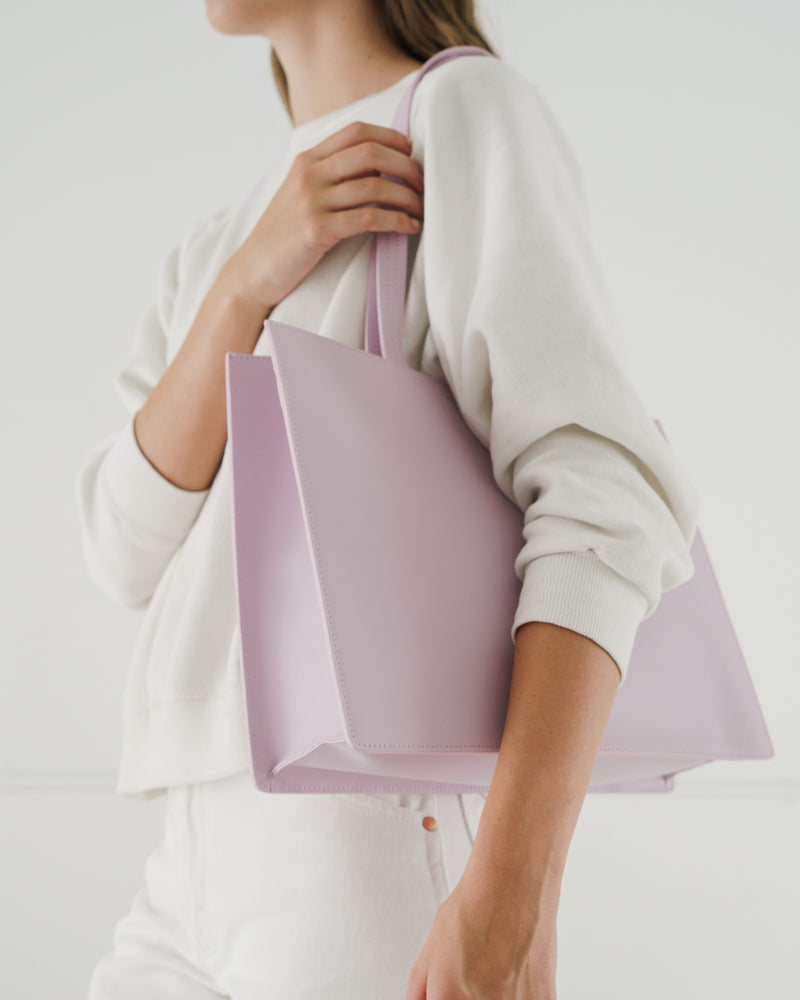 BAGGU  Large Leather Retail Tote - Pale Orchid