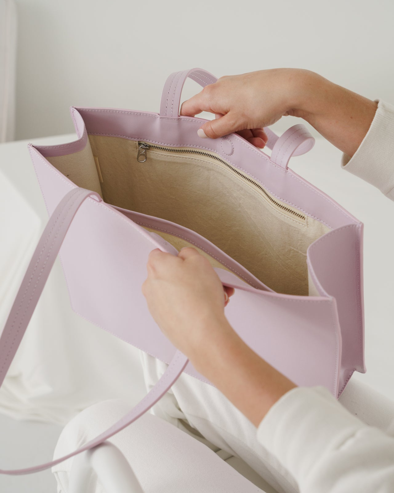 Large Leather Retail Tote - Pale Orchid