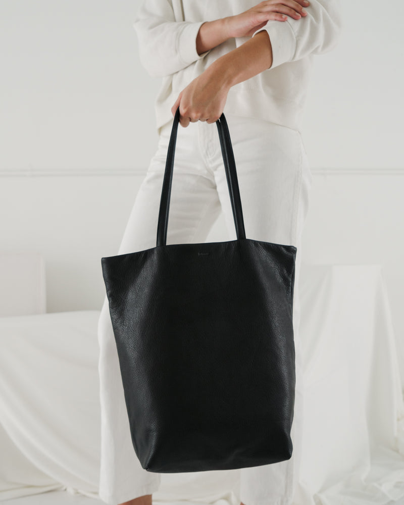 Large Leather Tote - Black