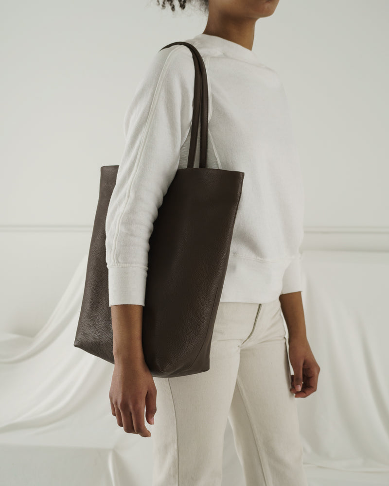 BAGGU Leather Soft Large Tote - Chocolate