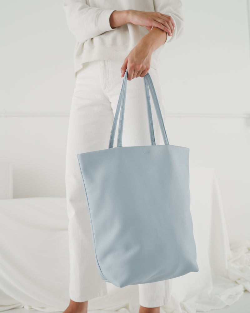 Large Leather Tote - Soft Blue