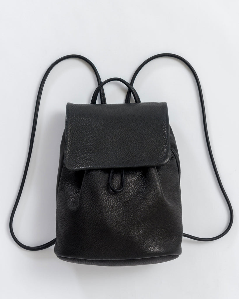 Mini Backpack - Leather Backpack - Black - Black - A mini leather backpack with drawstring closure. - Tags: Black backpack, Black leather backpack, leather backpack
