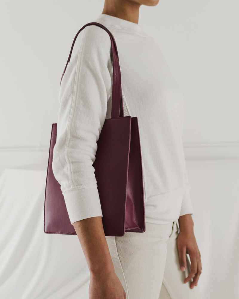 BAGGU Sale Medium Leather Retail Tote - Cranberry