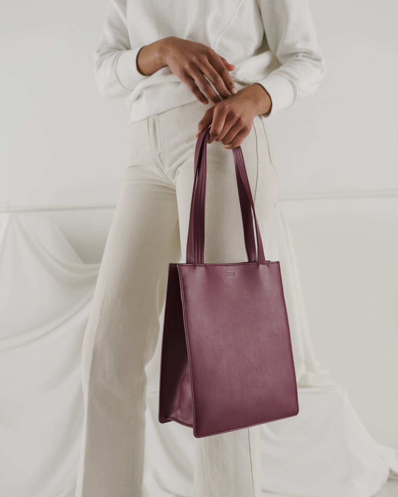 Medium Leather Retail Tote - Cranberry