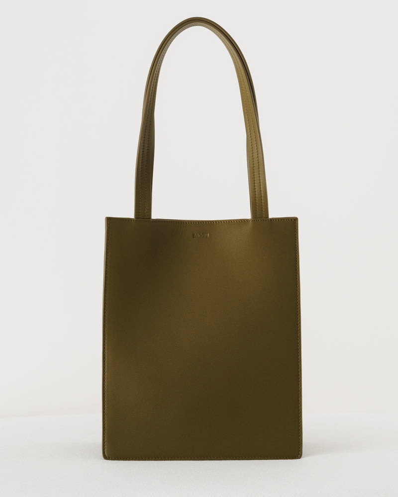 Medium Leather Retail Tote - Kelp
