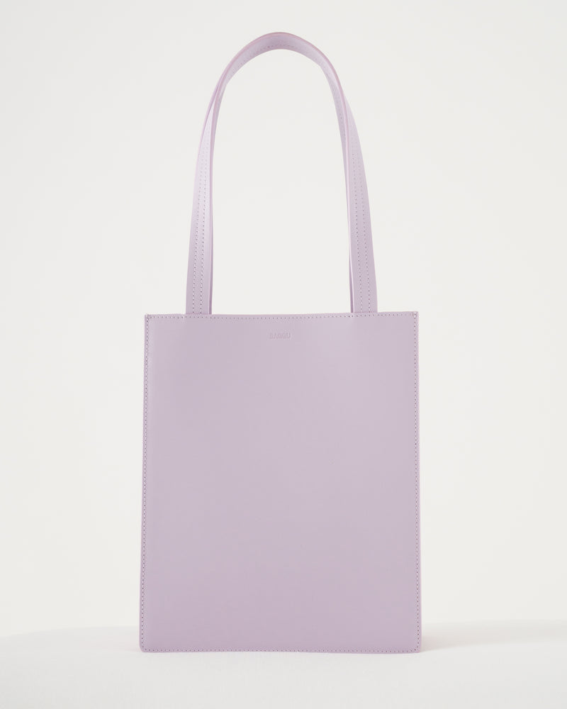 BAGGU Sale Medium Leather Retail Tote - Pale Orchid