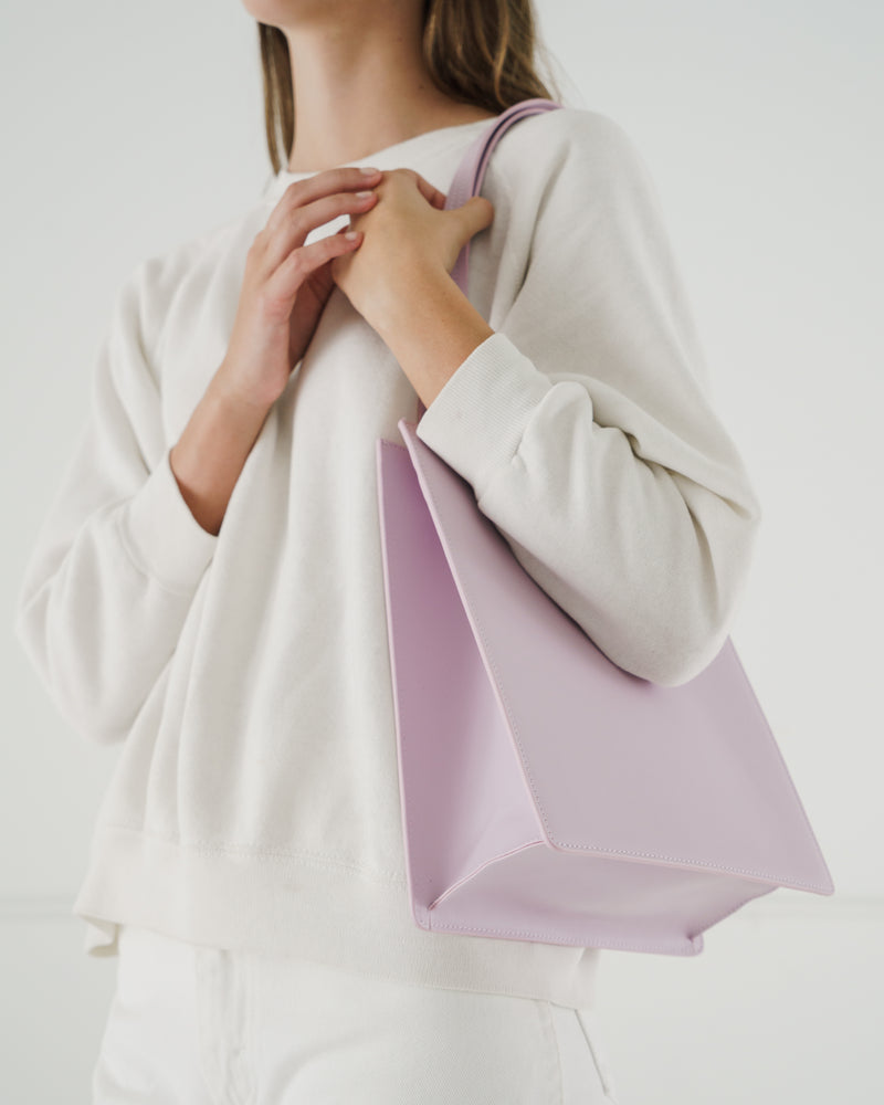 BAGGU Leather Bags Medium Leather Retail Tote - Pale Orchid
