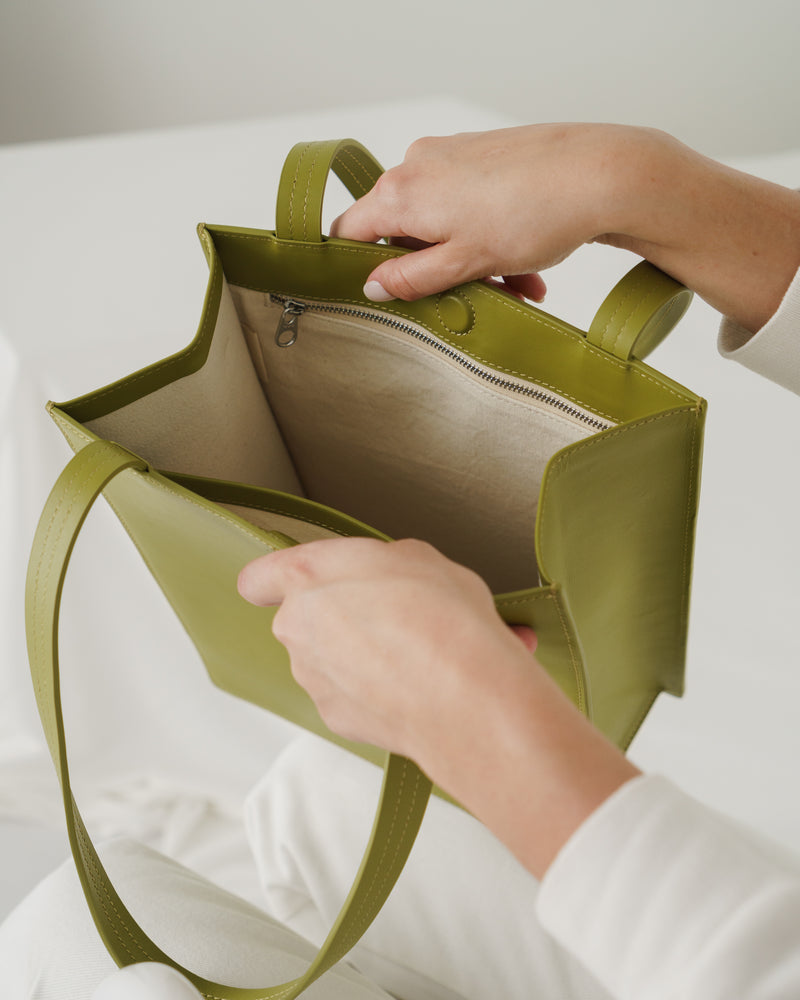 Medium Leather Retail Tote - Spanish Moss