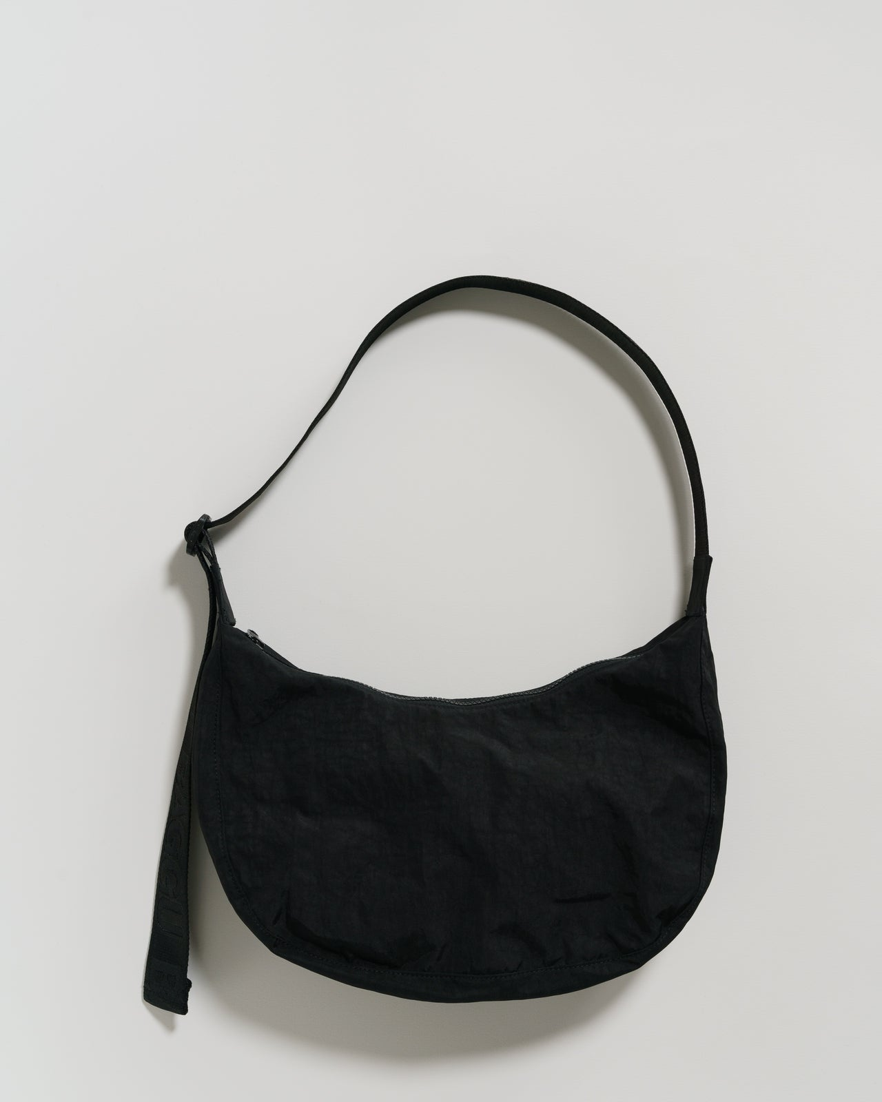 Medium Nylon Crescent Bag - Black