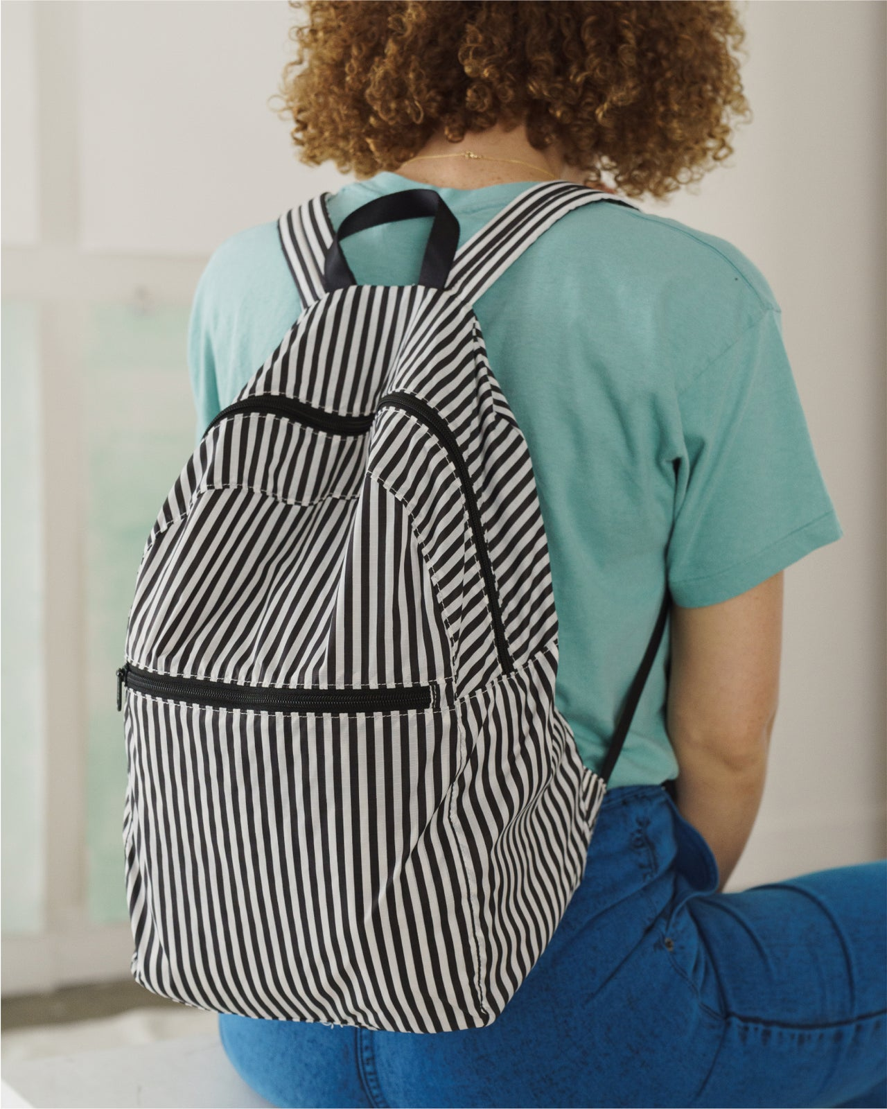 Packable Backpack - Black and White Stripe