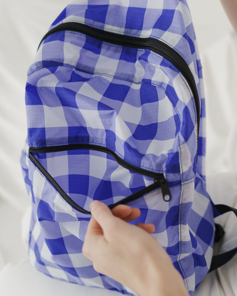 Packable Backpack - Big Check Blue