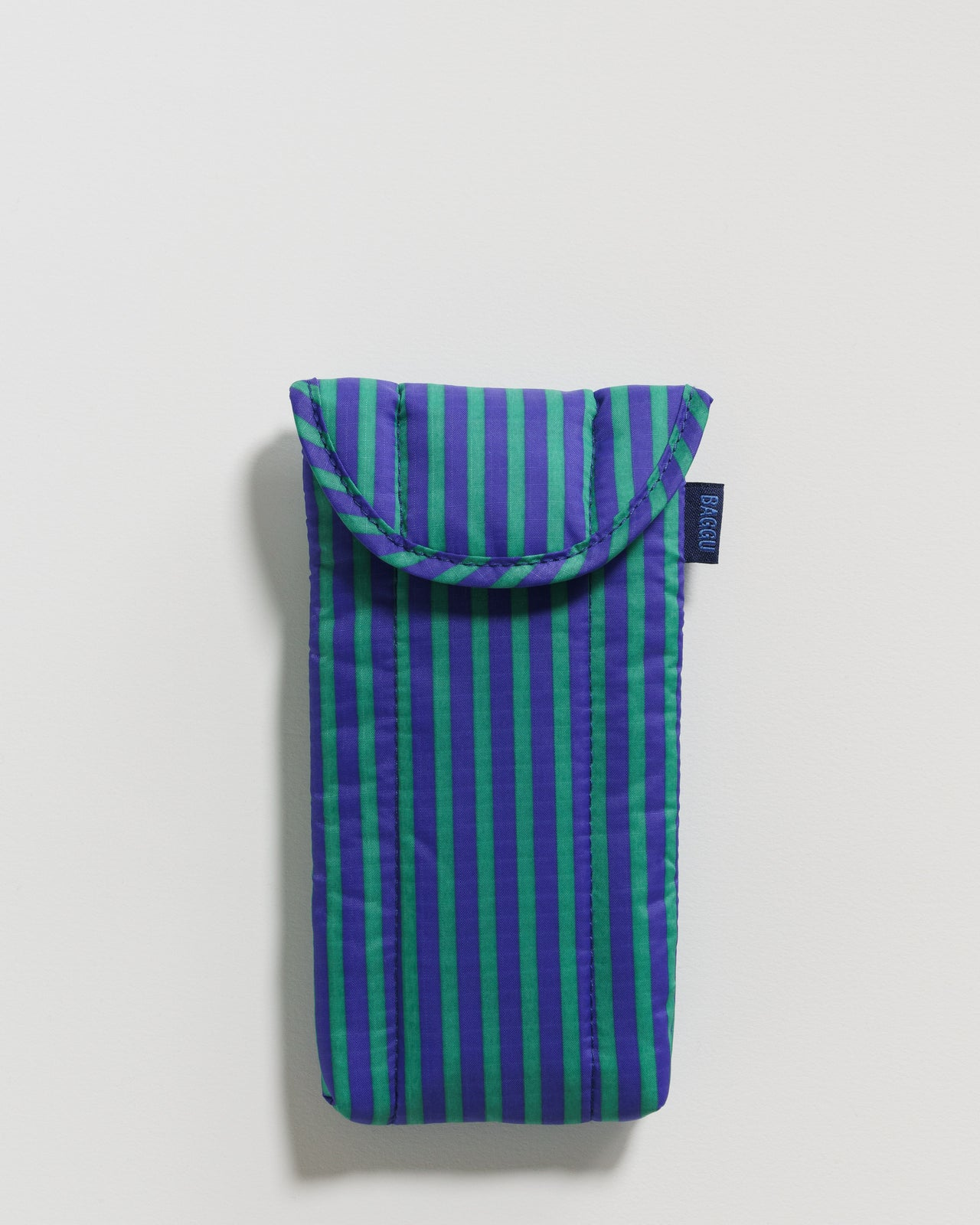 Puffy Glasses Sleeve - Cobalt and Jade Stripe