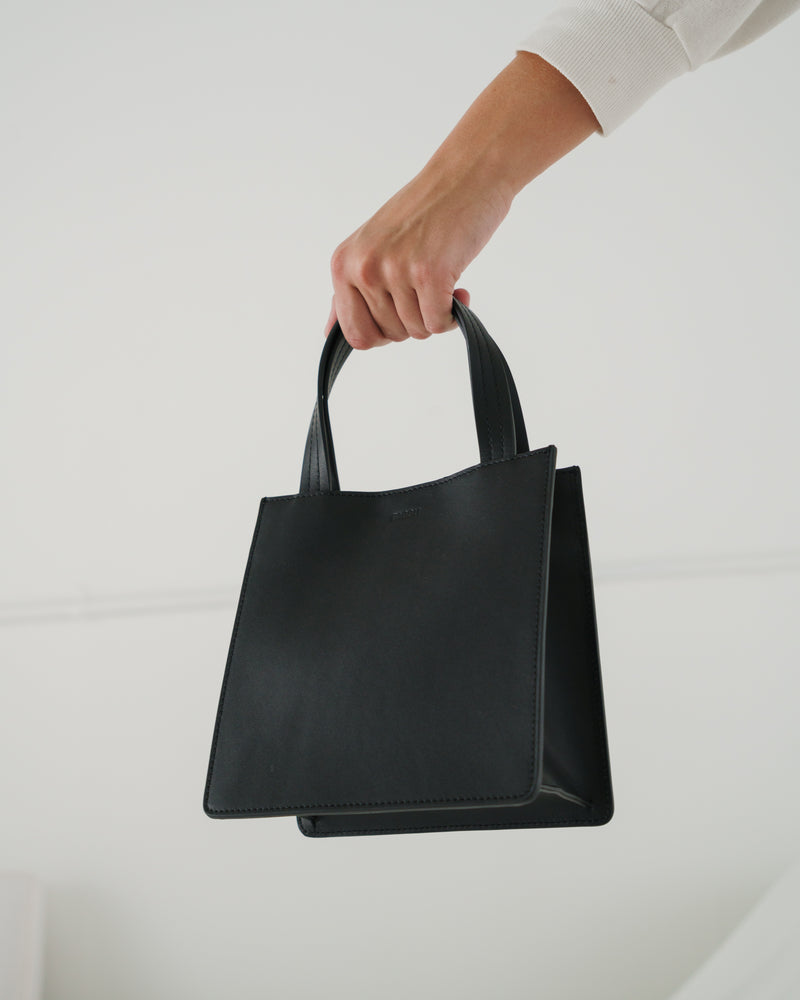 Small Leather Retail Tote - Black