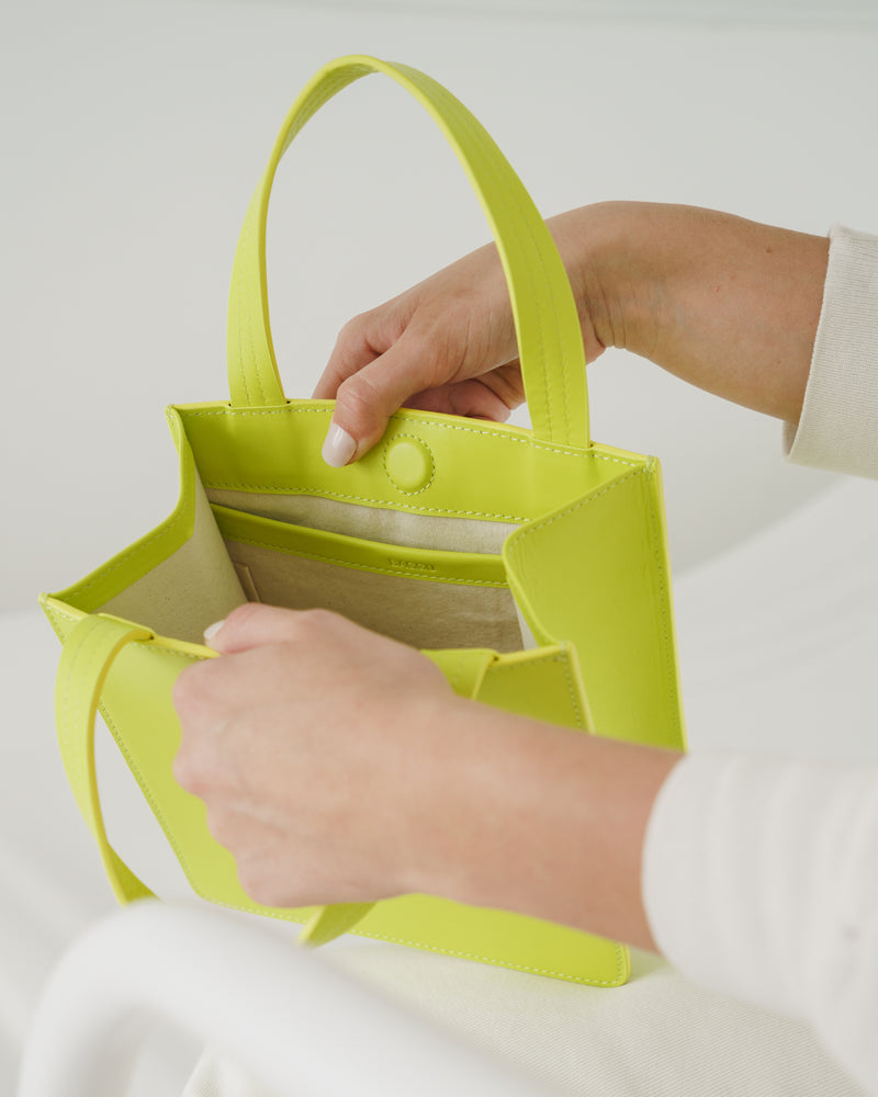 BAGGU Sale Small Leather Retail Tote - Chartreuse