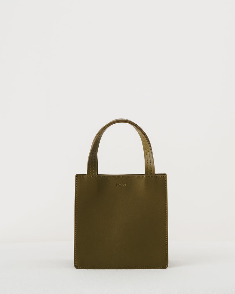 BAGGU Leather Bags Small Leather Retail Tote - Kelp