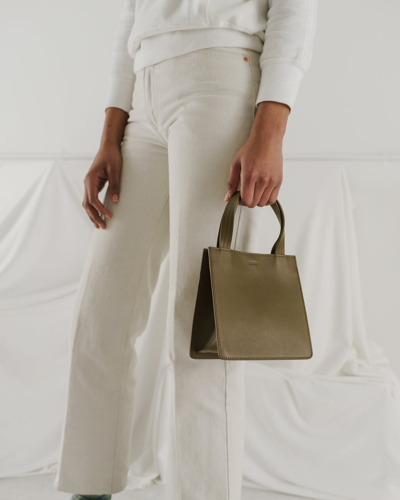 Small Leather Retail Tote - Kelp