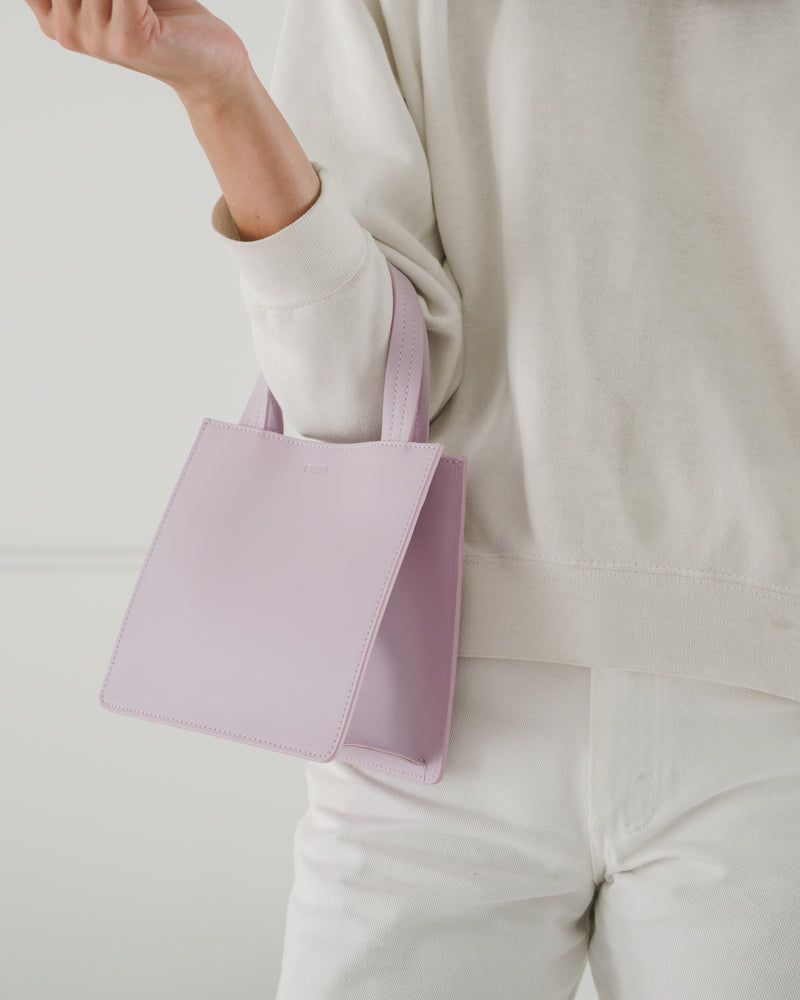 BAGGU Totes Small Leather Retail Tote - Pale Orchid