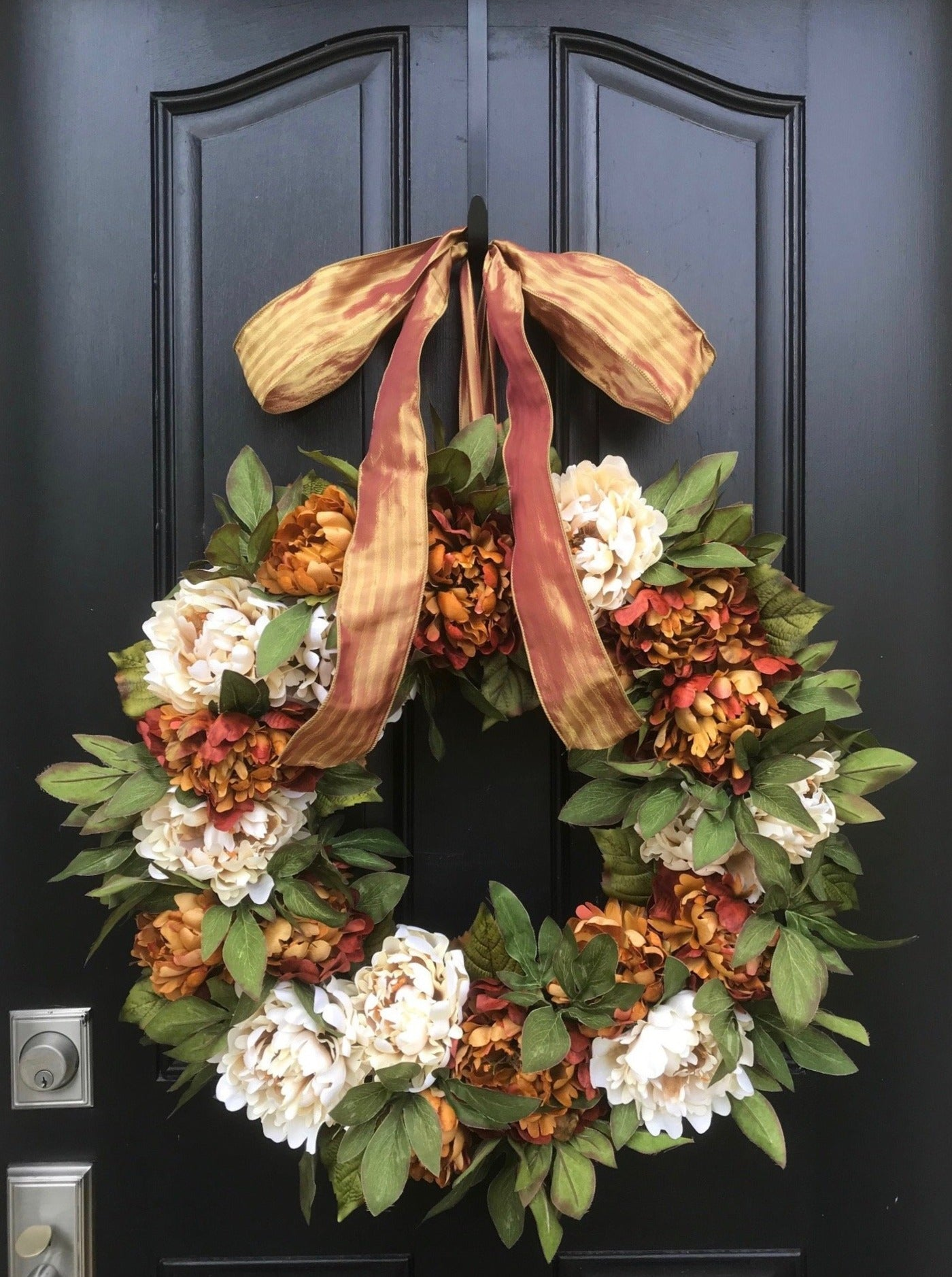 Cream and Rust Peony Wreath - TwoInspireYou