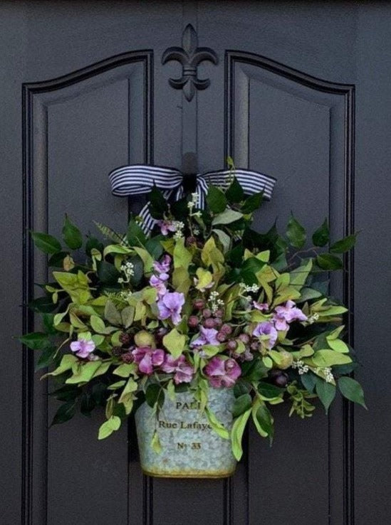 Purple Pansy Bucket Wreath - TwoInspireYou
