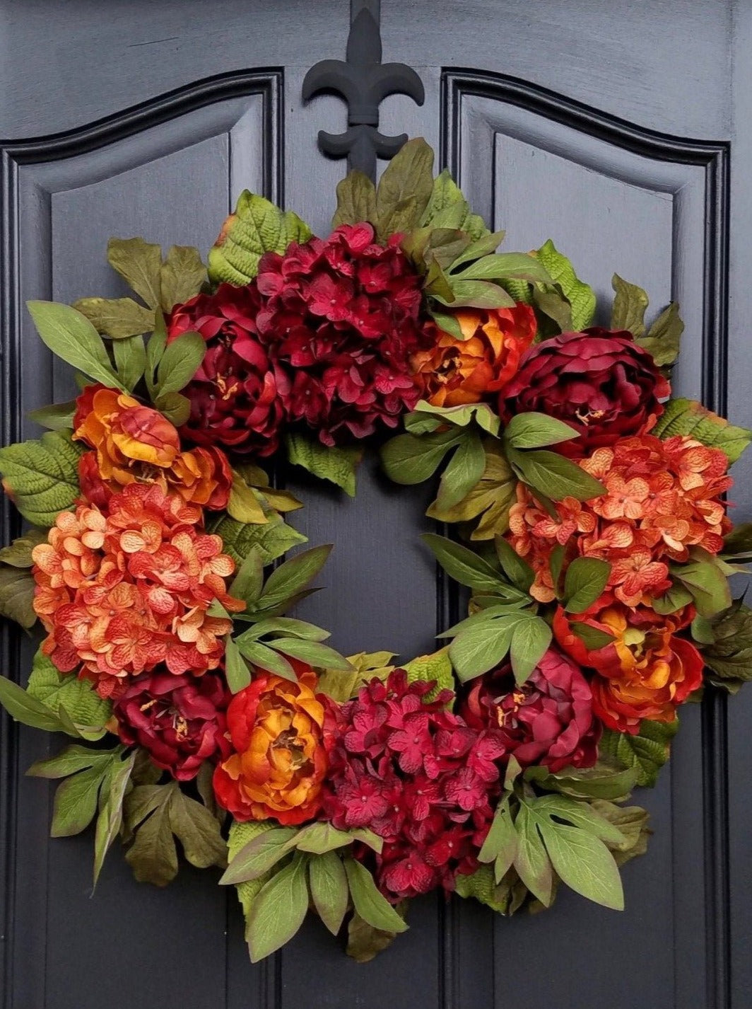Fall Red and  Burnt Orange Peony and Hydrangea Wreath - TwoInspireYou
