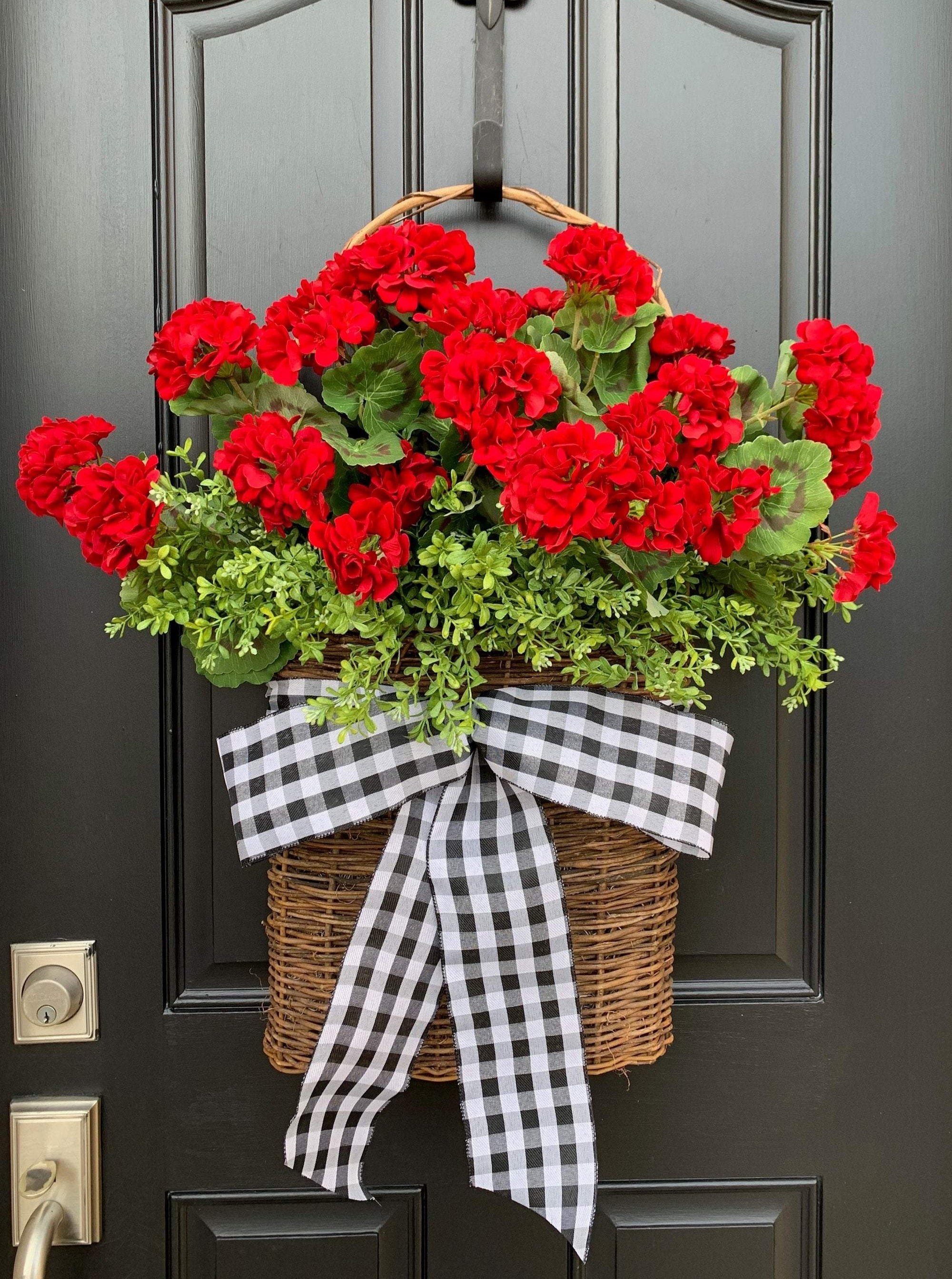 Red Geranium Bucket Wreath - TwoInspireYou