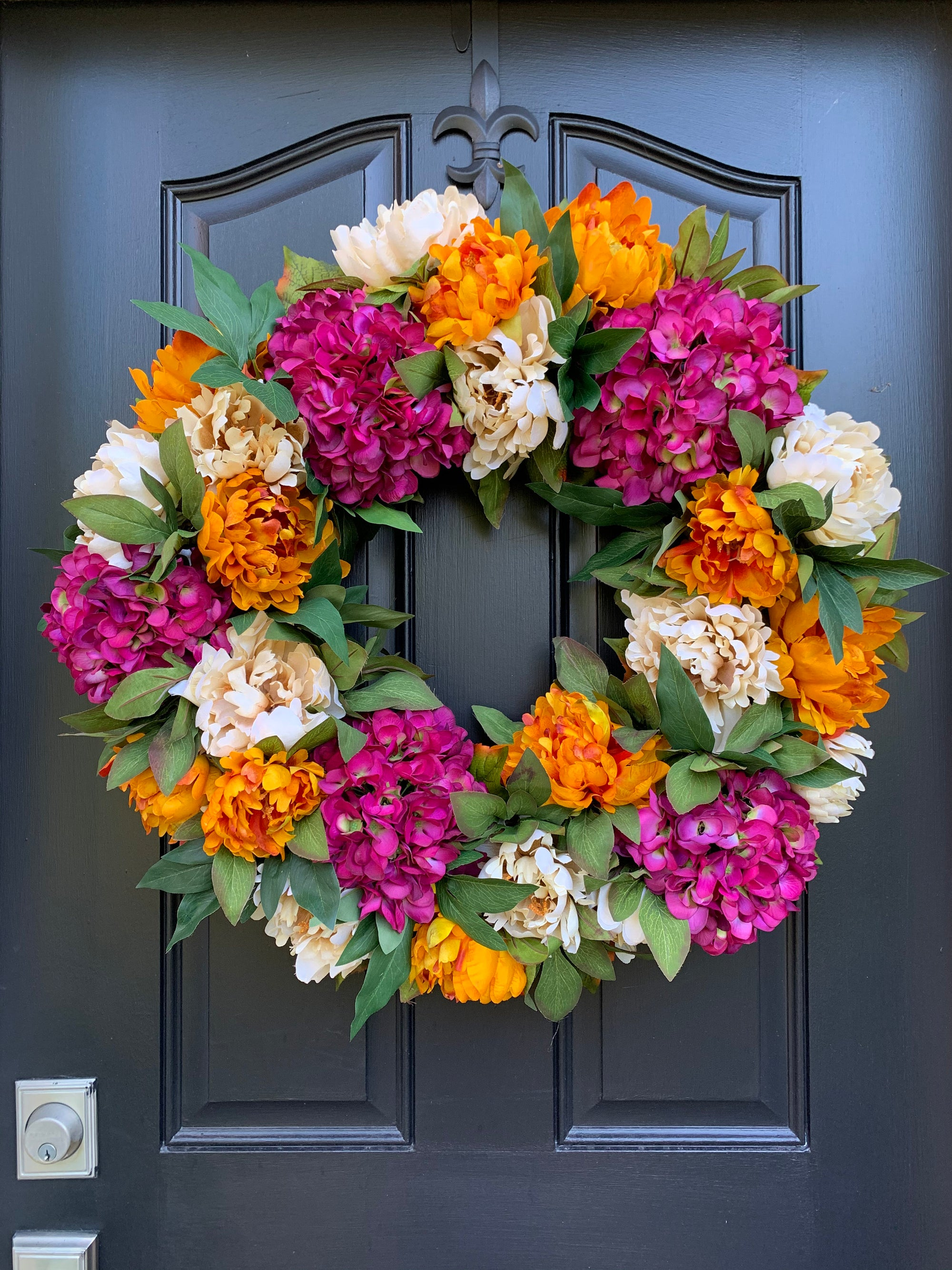 Late Summer Fall Wreath for Front Door - Colorful Fall Hydrangea, Peony and Dahlia Wreath