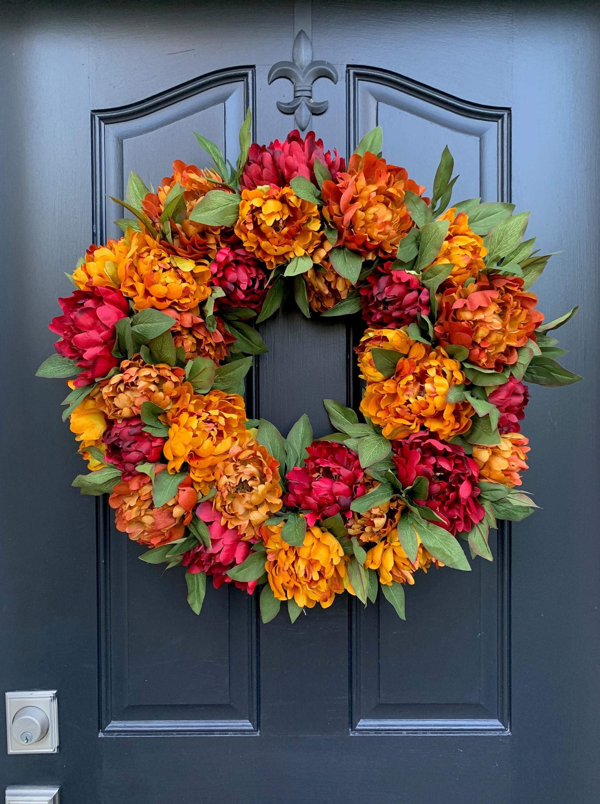 Burnt Orange and Merlot Fall Peony Wreath - Thanksgiving Wreath - TwoInspireYou