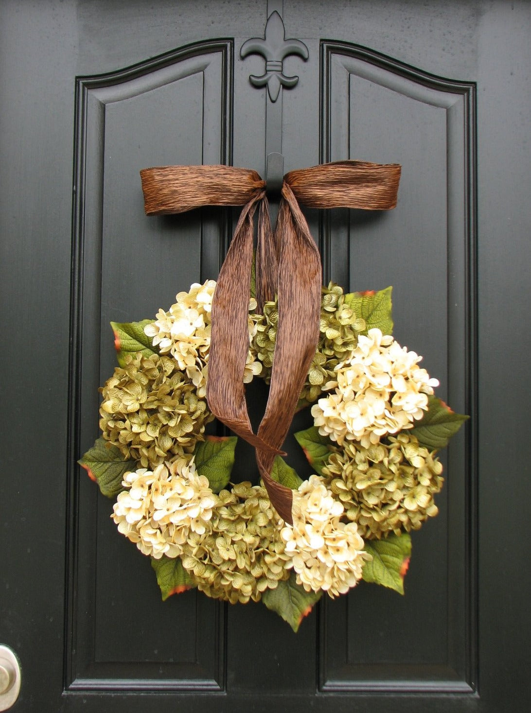 Cottage Chic Green and White Hydrangea Wreath - TwoInspireYou