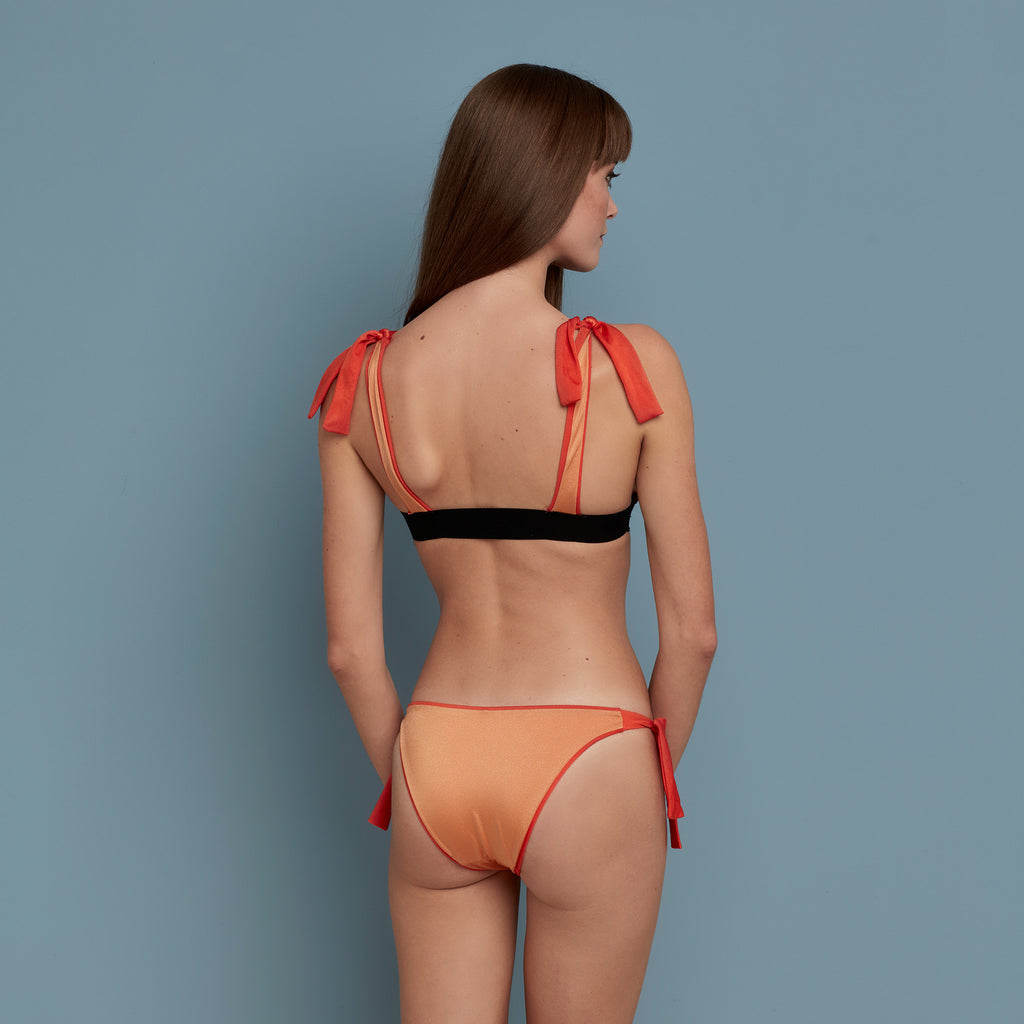 Reversible Tie Side Brief Vermilion/Peachy Pink