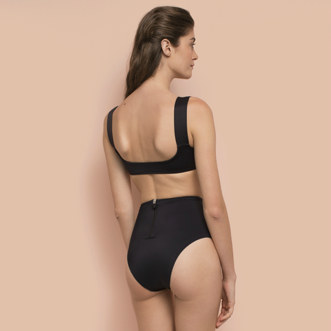 High Waisted Bikini Bottom Black