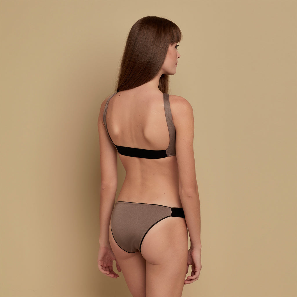 Reversible Low Waisted Bikini Bottom Black/Platinum