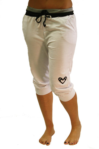 2 Hearts=ONE Love White Capri Jogger