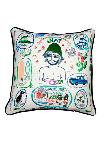Nat Young Hand Embroidered Cushion